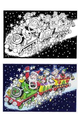Christmas Express Ride Digi Image  non cutting file