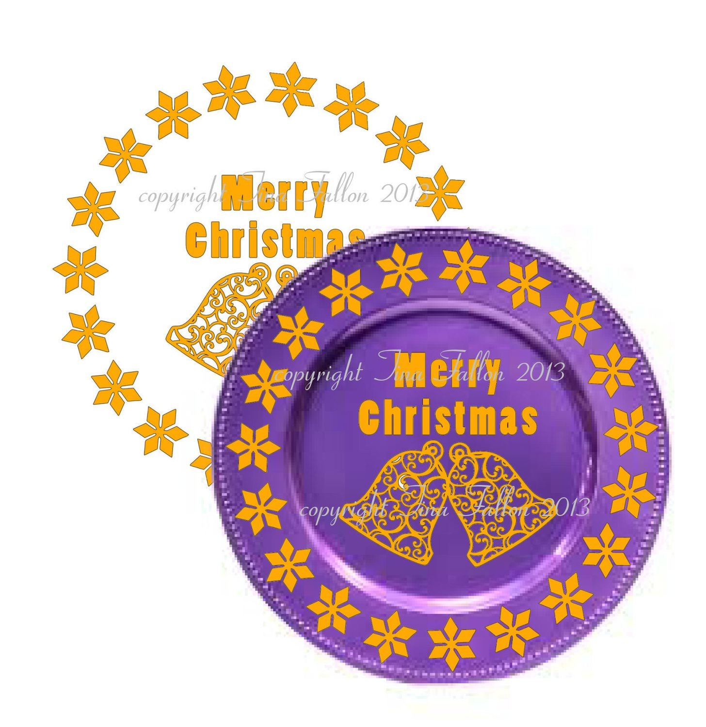 Bells Vinyl design for Christmas charger plates