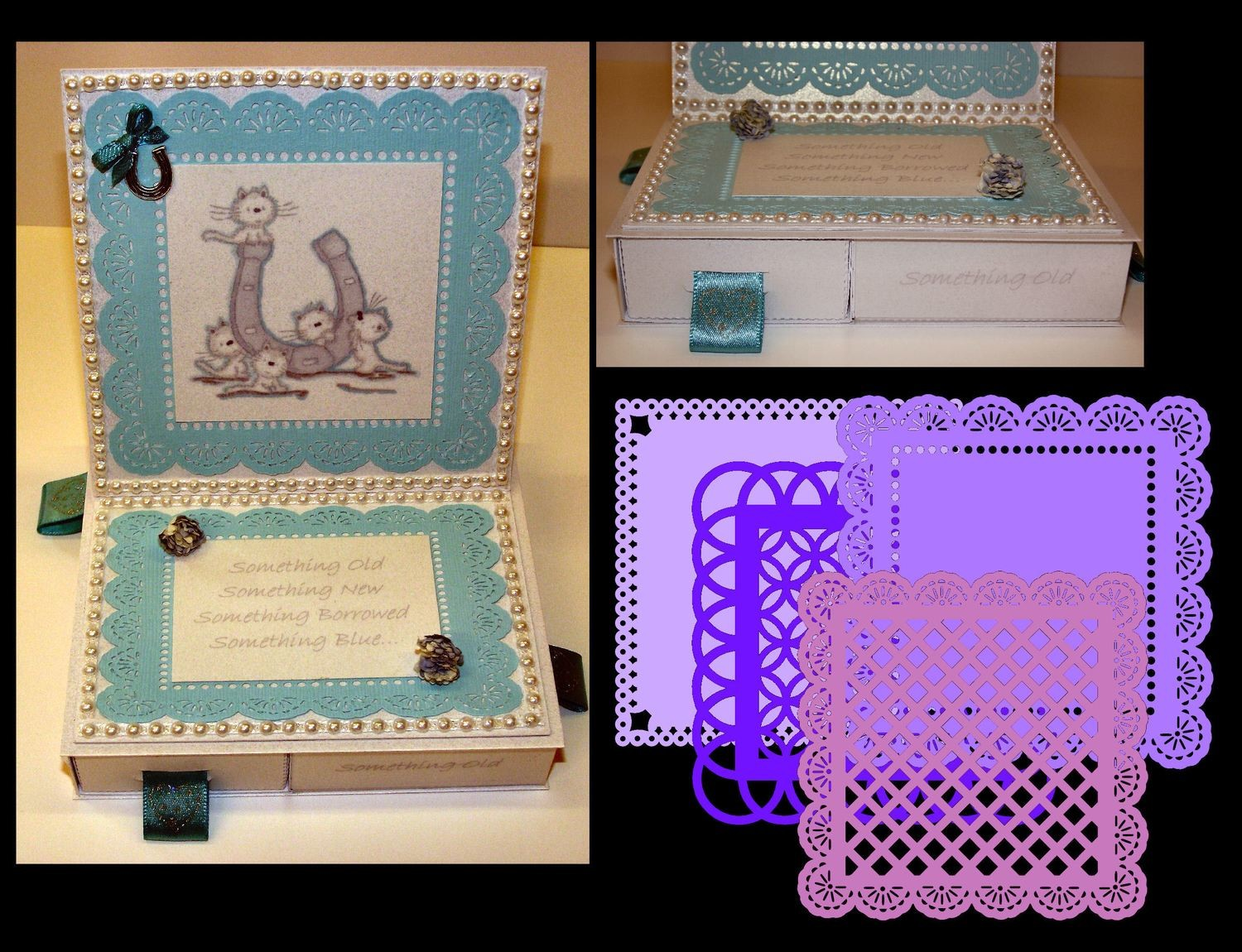 Square Easel Card with 4 Underdrawers choice No 2 with 4 Doilies  SVG