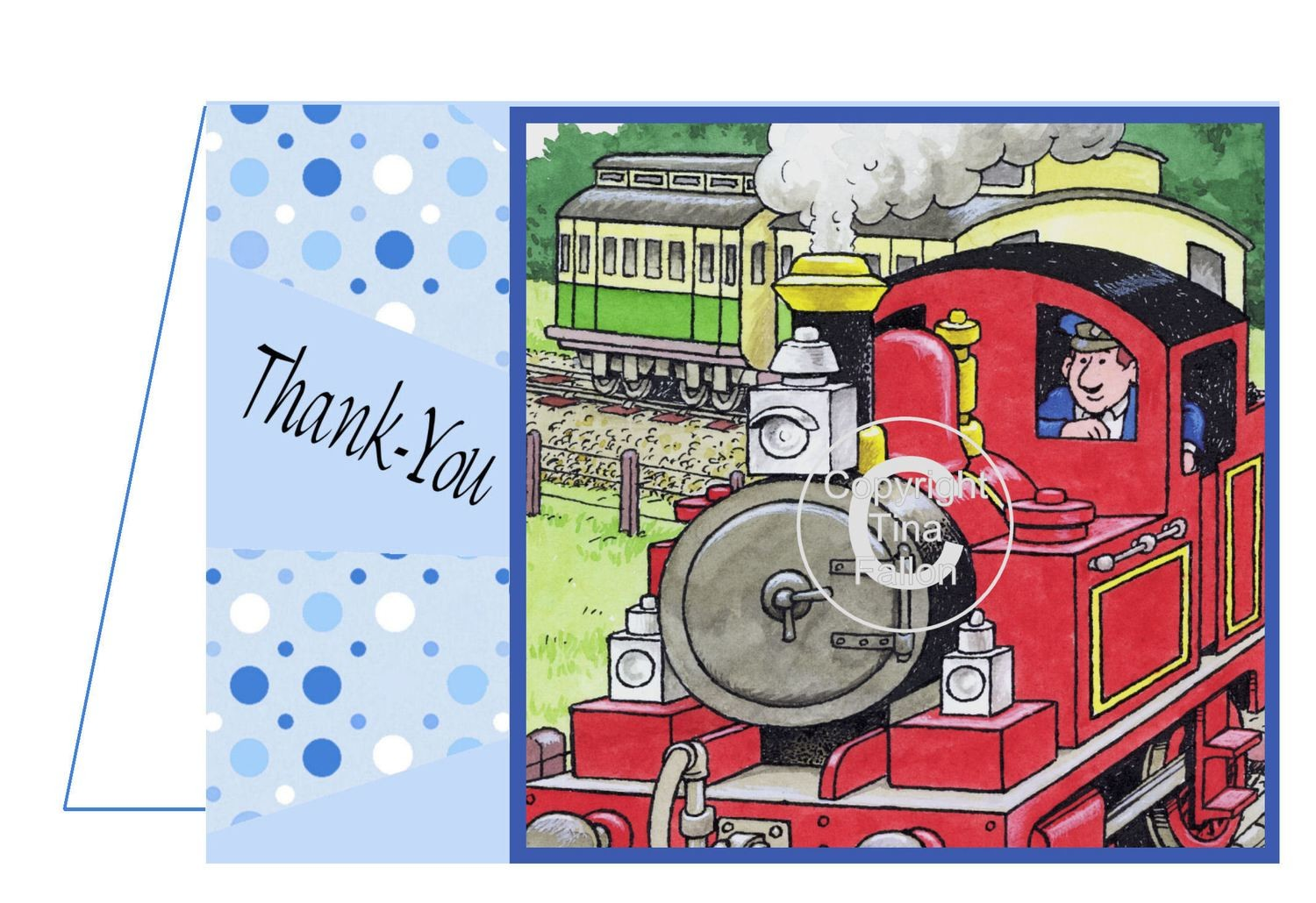 Tobias The Tank Engine Thank You Card 2 per A4 sheet