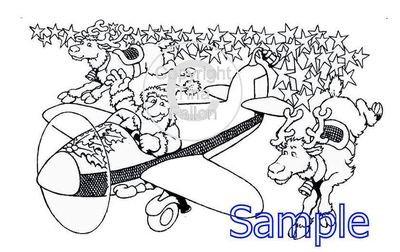Flying Santa Digi Image  non cutting file