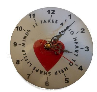 Teacher Takes a big heart - Clock Face for CD's / 45's / LP's and 78's