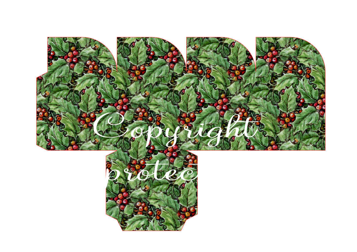 Holly Galore with Poinsettia Christmas Treat Box  Print N cut for Cameo
