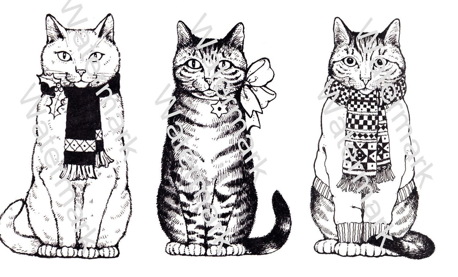 Catastic Set 2 black n white images.  Print and Cut for use with the Cameo