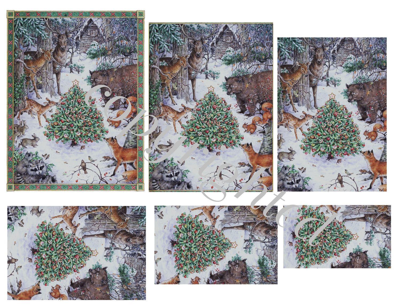 Forest Animals in winter Scene A4 Pyramid sheet print n cut