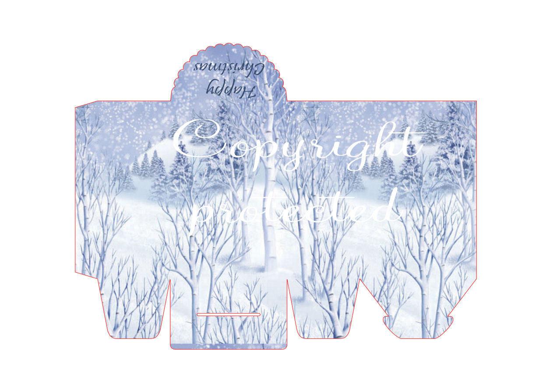 Winter Scene - Christmas Bag / Box  Print N cut for Cameo