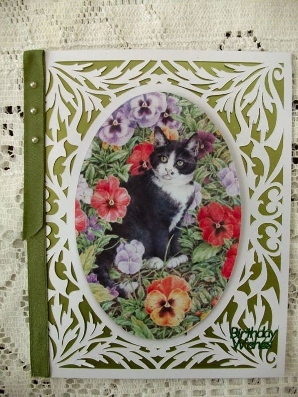 All In One Card, Flourish with Black Cat and Pansies PNC
