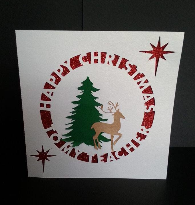 Happy Christmas TEACHER Card Template