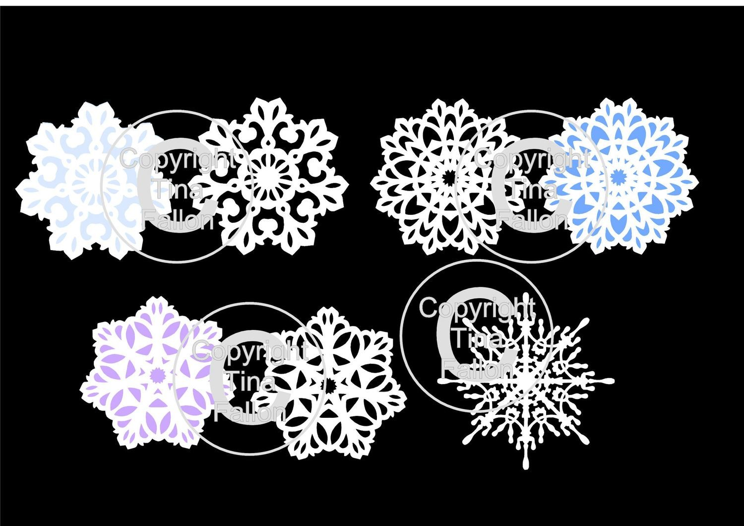 Set of 4 pretty snowflake toppers