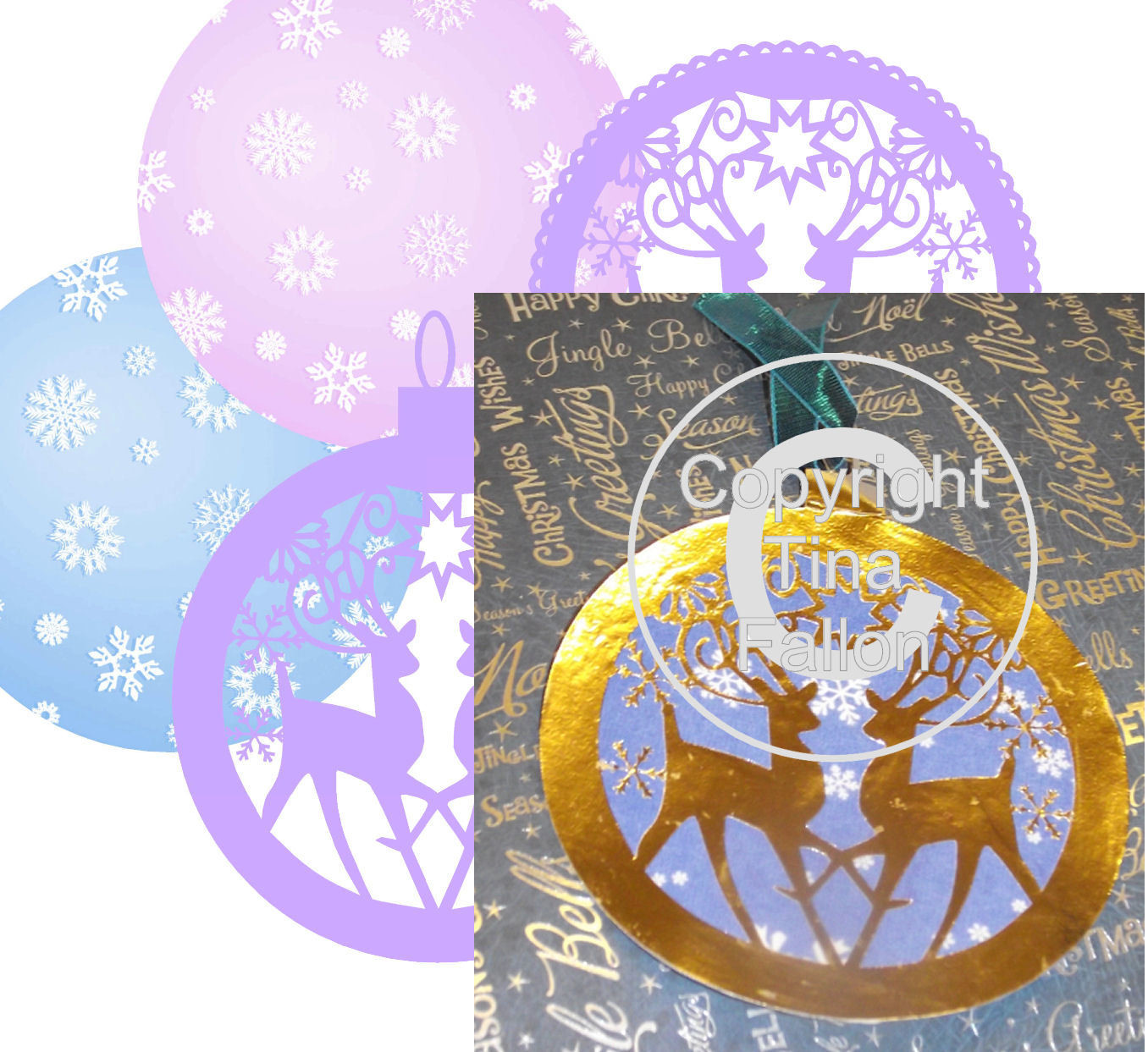 Reindeer design round card toppers with optional use print n cut backers