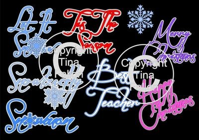 Christmas sentiments snow themed words