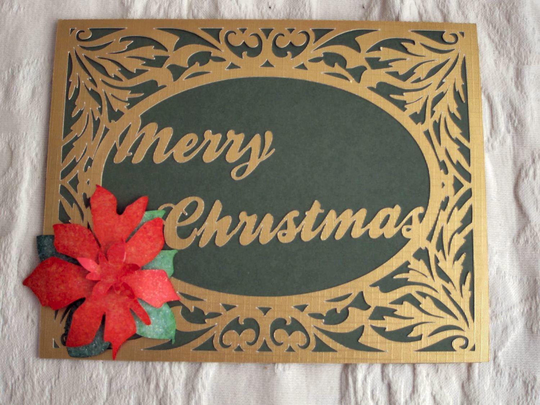 Card Template Flourish frame with poinsettia flower