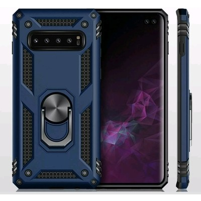 Case Galaxy S10 Plus Funda c/ Anillo Metal Soporte Giratorio Azul Antigolpes