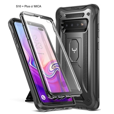 Case Galaxy S10 Plus 6.4 2019 c/ Mica Especial Integrada Carcasa Antigolpes c/ Parador Vertical y Horizontal