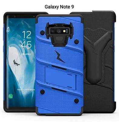 Case Galaxy Note 9 c/ Vidrio Azul Negro Protector Zizo Z-bold