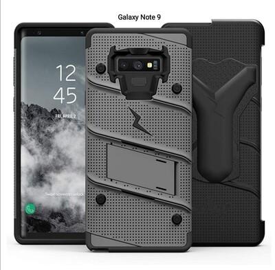 Case Galaxy Note 9 c/ Vidrio Gris Negro c/ 2 Parantes y Gancho