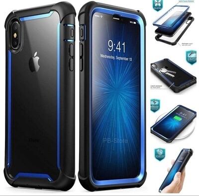 Case Iphone XS Max Ares Azul protector 360 de tapa arriba y tapa abajo y tapa trasera transparente