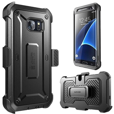 Case Samsung GALAXY S7 EDGE Protector 360 c/ gancho Negros