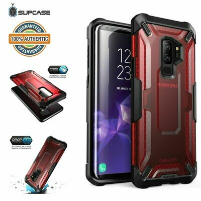 Case Galaxy S9 Plus S9+ Frost Antigolpes USA ROJA Transparente