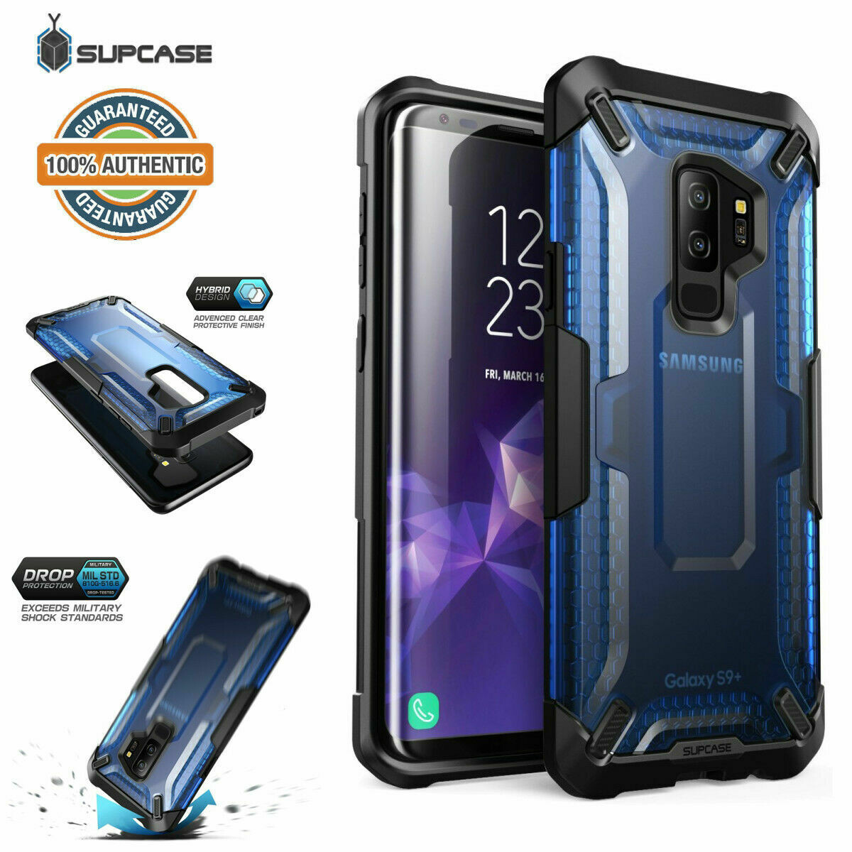 Case Galaxy S9 Plus S9+ Frost Antigolpes USA AZUL Transparente