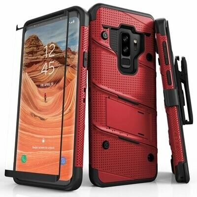 Case Protector Galaxy S9 Plus c/ Vidrio Templado c/ Gancho Funda USA