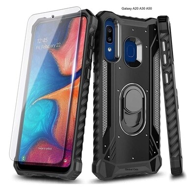 Case Protector Galaxy A30 / A20 c/ Vidrio T. c/ Anillo Parante Metal Negro