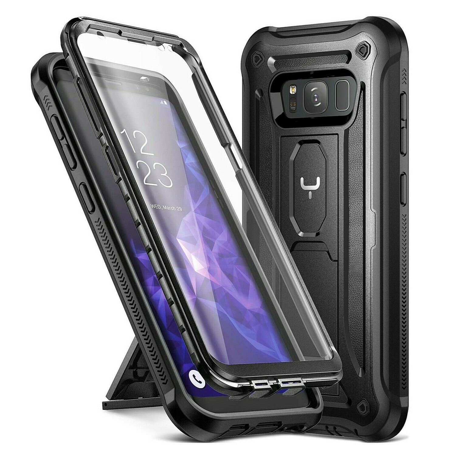 Case Galaxy S8 Normal Funda c/ Parador c/ Mica Integrada Carcasa de cubierta total Negra