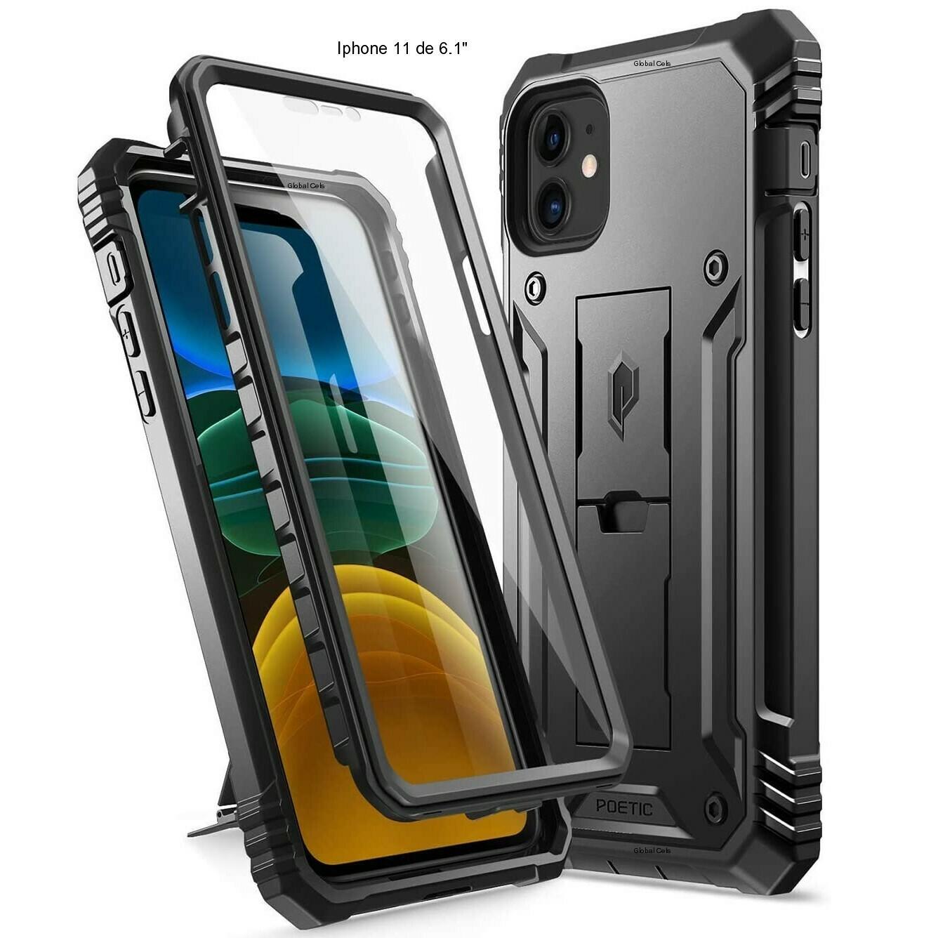Case Iphone 11 de 6,1 pulgadas cubre y protege todo el equipo c/ Parante c/ Mica Negro