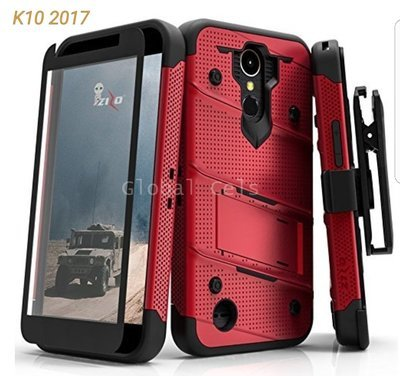 Case LG K10 2017 Zizo USA Rojo Negro c/ Vidrio Templado Militarizado