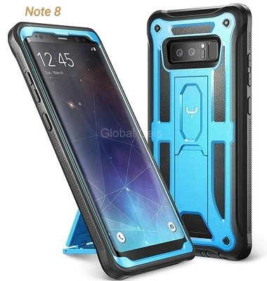 Case Galaxy Note 8 Celeste Negro Funda 360 c/ Parante c/ Tapa Gancho para Correa