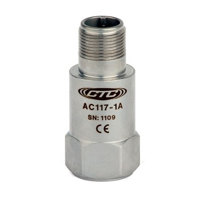 AC117 Series Multi-Purpose Accelerometer, Top Exit Connector/Cable, 50 mV/g