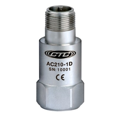 AC210 Series Premium Accelerometer, Top Exit Connector/Cable, 100mV/g