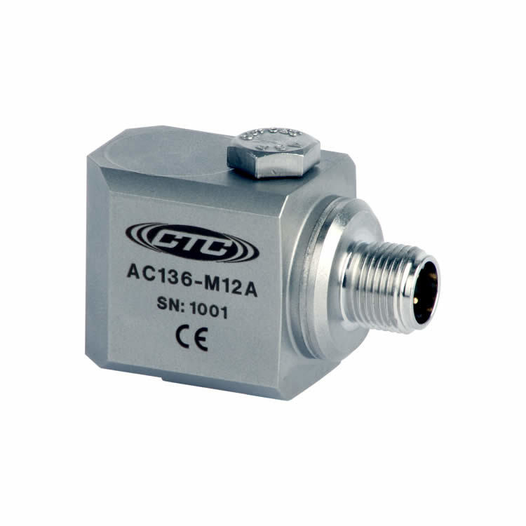 AC136 Series Low Frequency Accelerometer, Side Exit Connector/Cable, 500 mV/g