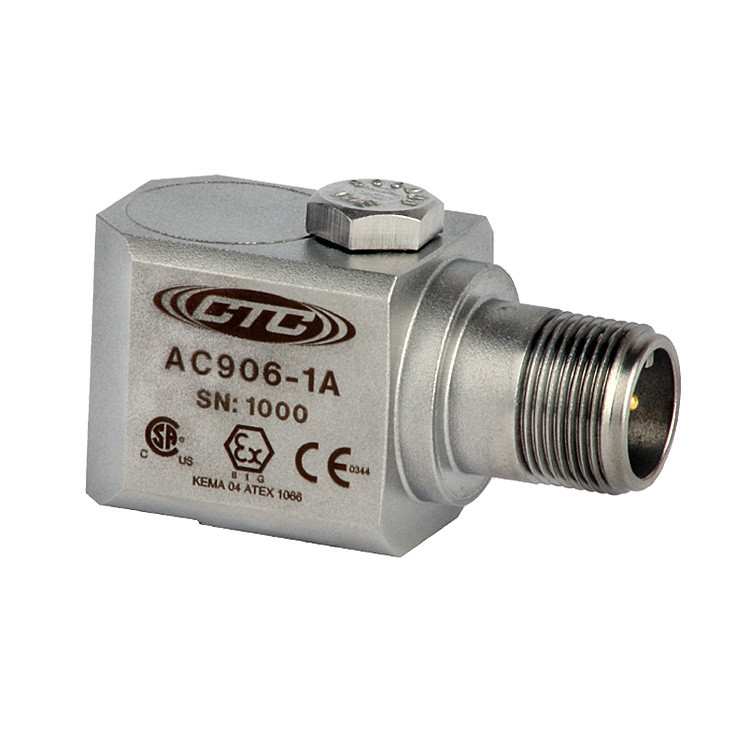 AC906 Series Intrinsically Safe Accelerometer, Side Exit Connector/Cable, 100 mV/g