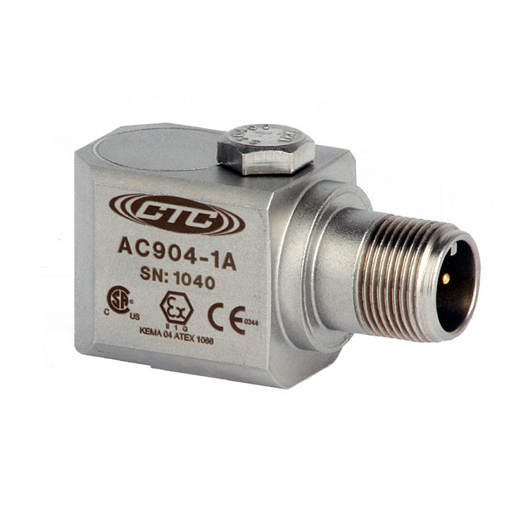 AC904 Series Intrinsically Safe Accelerometer, Side Exit Connector/Cable, 50 mV/g