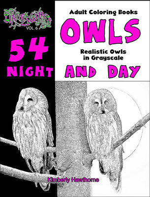 54 Owls Night & Day Coloring Book for Adults Digital Download