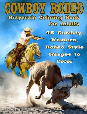 Cowboy Rodeo Grayscale Coloring Book for Adults Digital Download