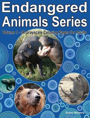 54 Endangered Animals Grayscale Coloring Book for Adults Digital Download