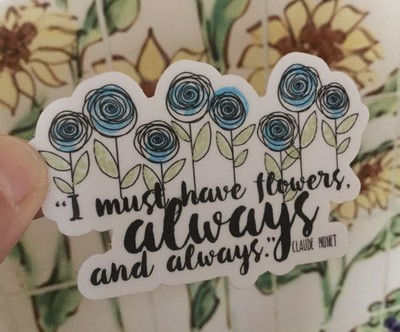 :: Lolly Pop Flowers Vinyl Sticker / Hand Illustrated Decal / Botanical Illustration Gift ::