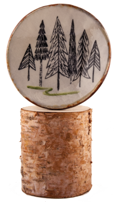 LARGE Forest 'Pines' Pottery Bowl, Appetizer Bowl, Spoon Rest, Woodland Art Pottery Bowl ::LARGE:: *FREE SHIPPING*