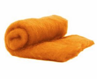 Perendale Wool  -- Carded Batt --  Tangerine