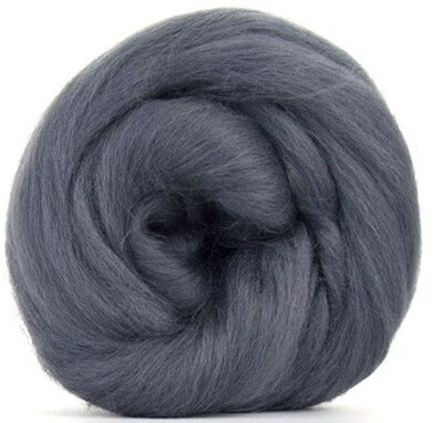 NZ Corriedale Wool Roving -- Gray