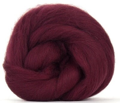 NZ Corriedale Wool Roving --  Burgundy