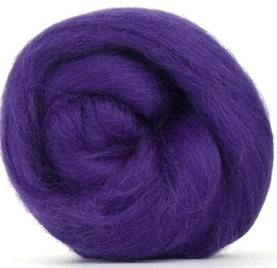 NZ Corriedale Wool Roving -- Deep Purple