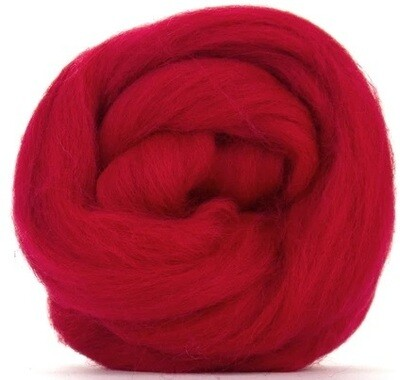 NZ Corriedale Wool Roving --  Red