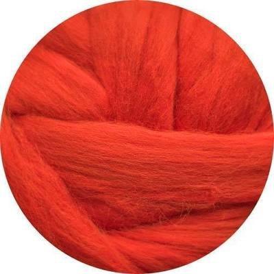 Fine Merino Wool Roving -- Tomato