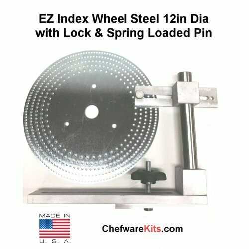 EZ Index Wheel Steel 12in Dia 34mm Center Hole with Lock and Spring Loaded Pin  for Woodturning (Dividing Disk)