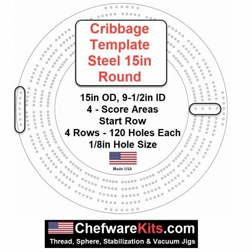 Cribbage Template Steel 15in Round (wood working) Made in USA