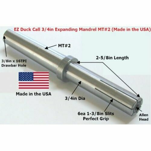 EZ Goose Call 3/4in Expanding MT#2 Mandrel (Woodturning Kit) Made in the USA