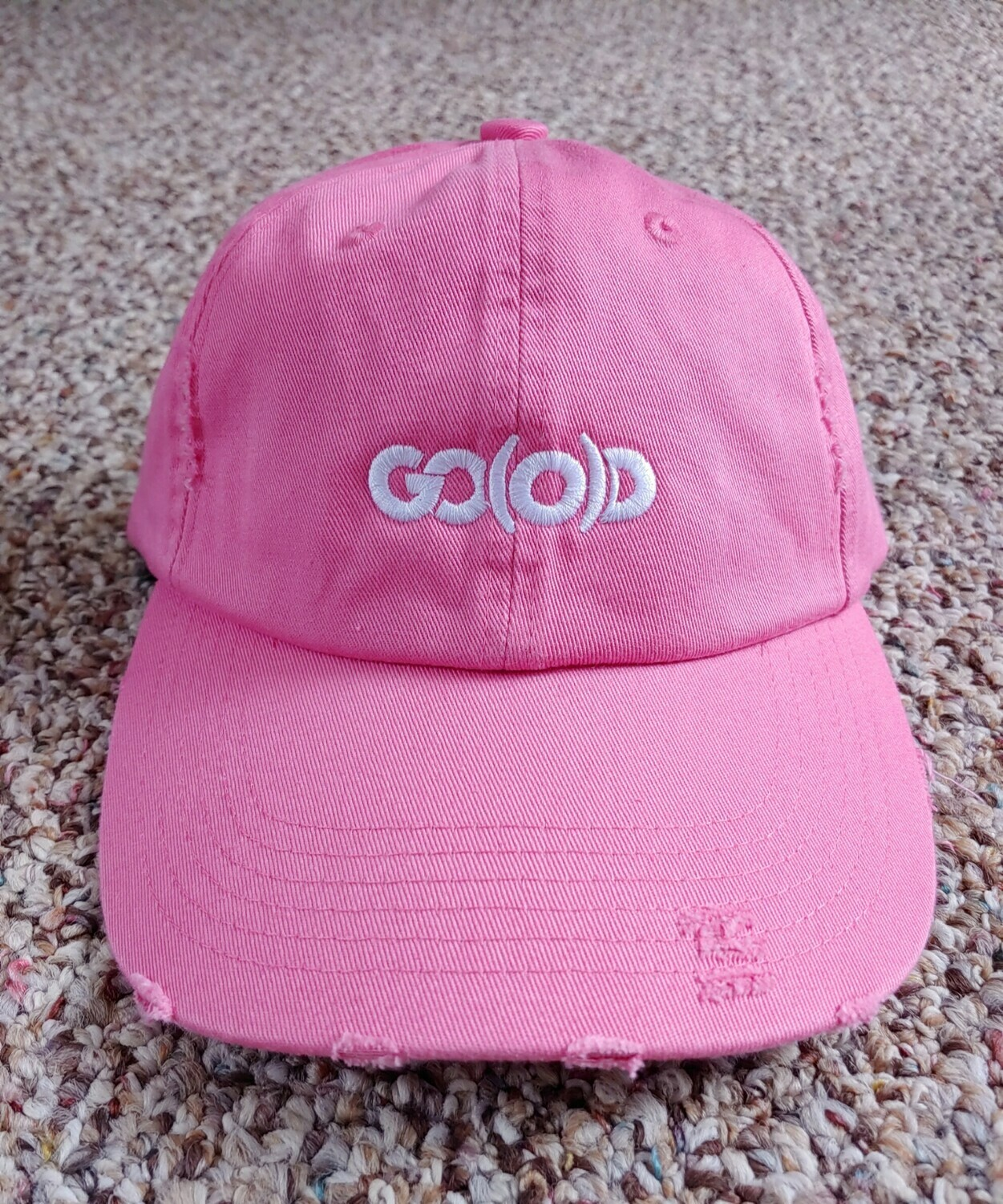 GO(O)D Distressed Dad Hat-pink